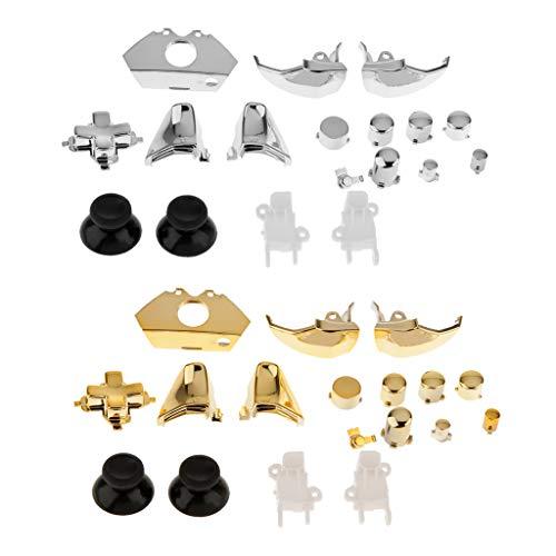 Amuzocity Juego de 36 Kits de Botones de Control de Repuesto para Microsoft Xbox One Silver Gold