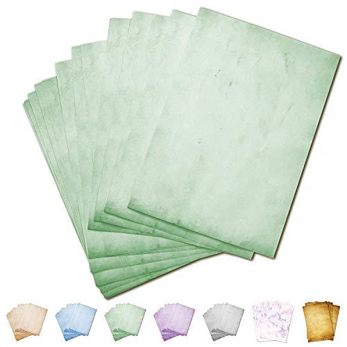 Partycards 50 Blatt Briefpapier doppelseitig bedruckt, geeignet für alle Drucker (Grün, Format DIN A4 (21 cm x 29,7 cm), Grammatur 90 g)