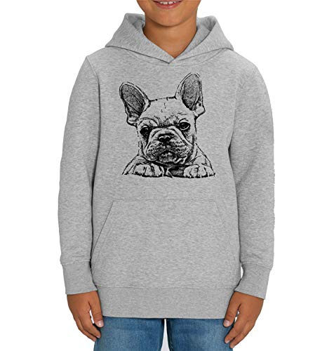French Bulldog Frenchie Sketch Print - Felpa con cappuccio unisex per bambini Grigio L