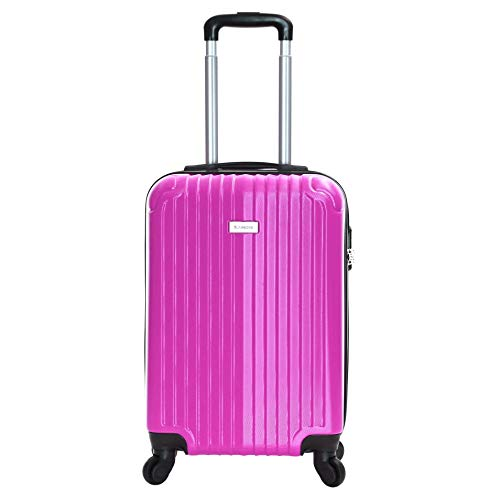 Slimbridge Hard Cabin Hand Carry-on Suitcase Luggage Bag 55 cm 2.5 kg 35 litres 4 Wheels Number Lock, Borba (Bubble Gum)
