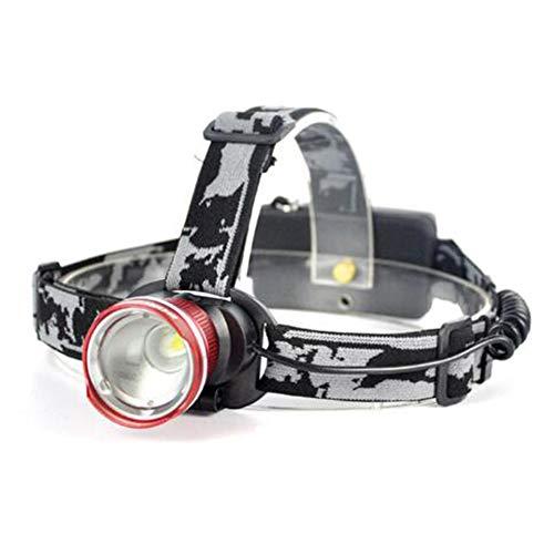 SUNSHIN T6 avec LED Trois Modes phares de Zoom Haute Puissance 3000lm tête Lampe de Poche 18650 Lampe de Poche Rechargeable de Chasse,Rouge