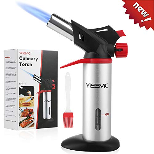 Butane Torch YISSVIC Kitchen Torch Refillable Professional Cooking Torch with Safety Lock and Fuel Gauge for Cooking Baking BBQ Fuel Not Included Come With 1 Oil Brush