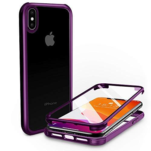 PHONEAURA kompatibel mit iPhone X/iPhone XS 360 Grad Schutzhülle Vorne & Hinten Handyhülle Ganzkörper Apple Hülle mit Zwei Panzerfolien Bildschirmschutz, Kameraschutz Komplettschutz (Deutsches Design)