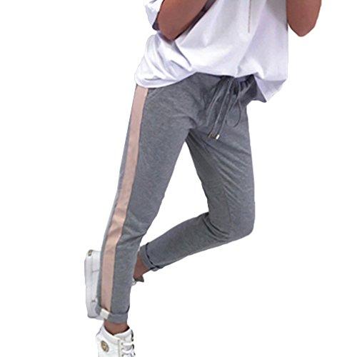 Damen Bleistift Hose mit Elastischem Bund und Seitenstreifen Tunnelzug Slim Fit Stretch Jogginghose