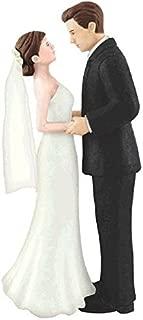 brunette bride and groom cake topper