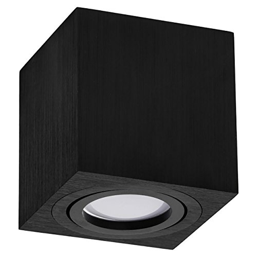 LED Aufbauspot, LED Deckenaufbauleuchte, Aluminium Deckenleuchte Schwarz Quadratisch 82mm x 84mm CUBE (SCHWARZ)
