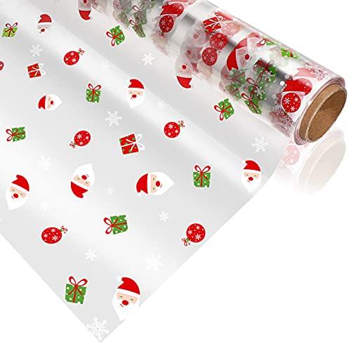 Toyvian Papel de Regalo de Celofán de Navidad con Patrón de Papá Noel Rollo de Envoltura de Celofán de 2. 5 Mil de Espesor para Manualidades de Regalo (30M X 40CM)