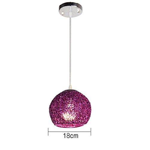 Waineg Modern LED single head coloured chandelier metal aluminum wire Pendant Lights shade creative children room Light E27 Restaurant bar café decorative hanging lamp 110V 220V (Violet