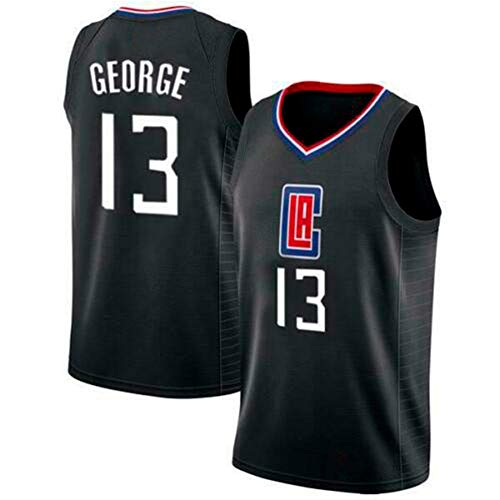 Herren Trikot Paul George Los Angeles Clippers # 13 Jugend Basketball Mesh Jersey, Sportbekleidung Schnelltrocknen Ärmelloses Training Fitness Tanktops Basketballtrikots für Jungen (Schwarz, S(44))
