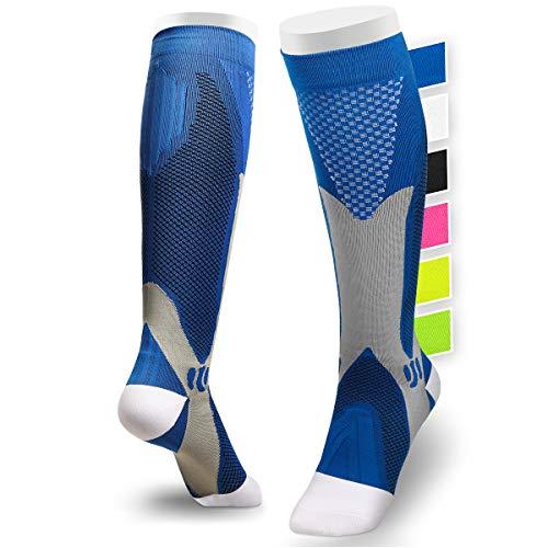 Chaussettes de Contention Femmes Hommes 15-30 mmHg - Chaussettes de Compression, Bas de Contention Running Sport, Ski, Voyage (L/XL (EU 40-45), Bleu)