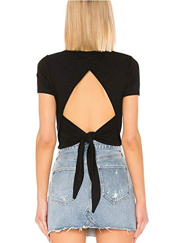 Mippo Cropped Workout Tops for Women High Neck Open Back Yoga Athletic Shirts Cute Summer Tops Tie Back T-Shirts Gym Exercise Fitness Clothes Black S