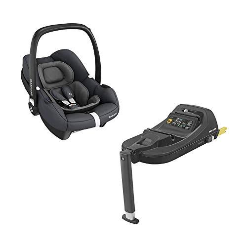 Maxi-Cosi Tinca i-Size Babyschale + passende ISOFIX Station, sehr leichter Gruppe 0+ Autositz (nur 3,2kg), inkl. Sonnenschutz, nutzbar ab der Geburt bis zu 75 cm (0-12 kg), Essential Graphite, Grau