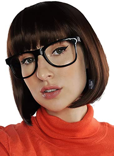 Brown Bob & Black Glasses Costume Set Cosplay Flapper Wigs With Bangs Fits All