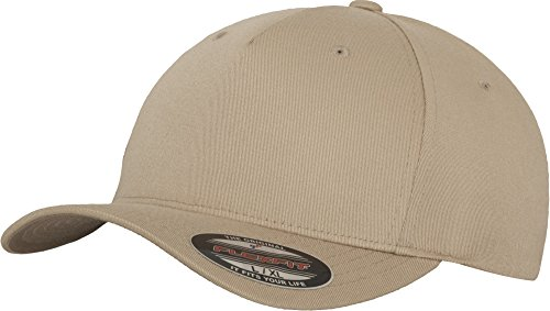 Flexfit 5 Panel Baseball Cap - Unisex Mütze, Kappe für Herren und Damen, einfarbige Basecap, rundum geschlossen - Farbe khaki, Größe S/M
