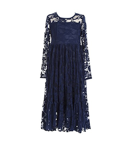 Girls Long Lace Dress, Flower Girl Dresses, First Communion Outfits for Wedding Navy Blue