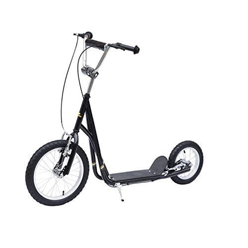 homcom Scooter Monopattino Manubrio Regolabile Portata 100kg Bambini Acciaio 125 × 58 × 92-100cm Nero