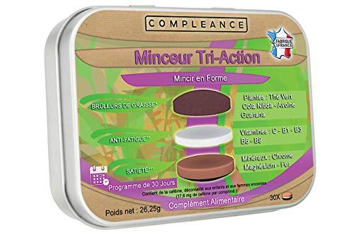 Minceur Tri-Action : Brûleur de Graisse Extra Fort - Coupe-faim - Anti-fatigue   Aide à maigrir   Thé vert, Guarana, Cola, vitamines et minéraux   1 seul comprimé Tricouche par jour suffit