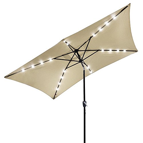 Yescom 10x6.5ft Outdoor Rectangular Solar Powered LED Lighted Patio Umbrella Table Market Umbrella with Crank Beige