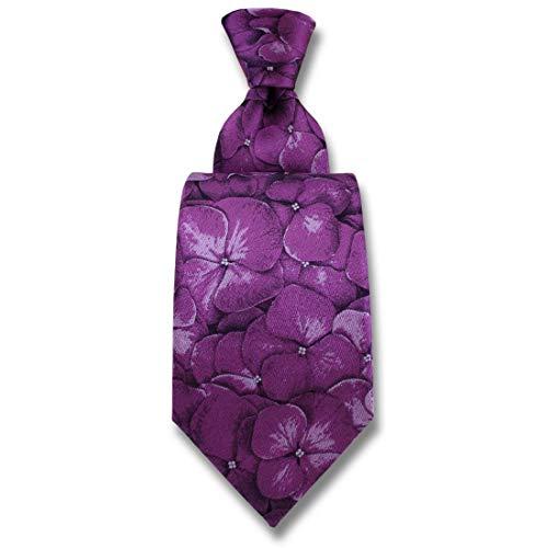 Robert Charles. Cravate. Hydrangea, Soie. Violet, Fantaisie. Fabriqué en Italie.