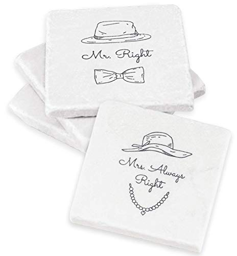 Mr Right and Mrs Always Right set of 4 Coasters – Unique Wedding Gift, Bridal Shower Gift or Anniversary Gift