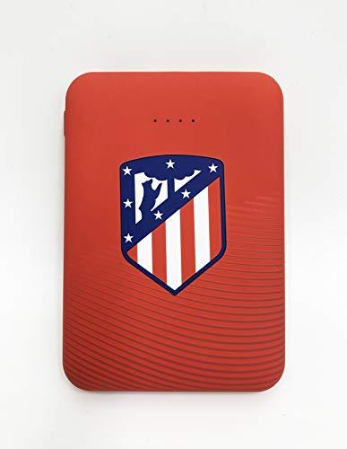ATLETICO MADRID Power Bank- Bateria Externa para móvil. Producto Oficial 5.000 mAh. Entrada Tipo C y micro USB. Salida USB. Tamaño pequeño y ligero