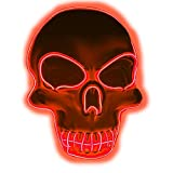 Halloween Purge Mask Light Up Scary Mask EL Wire LED Mask for Festival Party Gifts (Skull-Red)