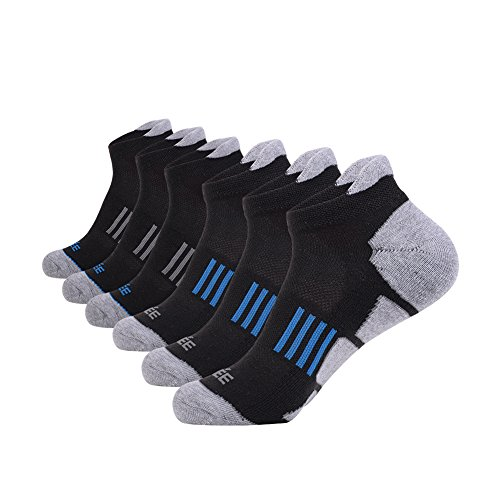 JOYNÉE Men's 6 Pack Athletic No Show Performance Comfort Cushioned Low Cut Running Tab Socks,Black,Sock Size:10-13