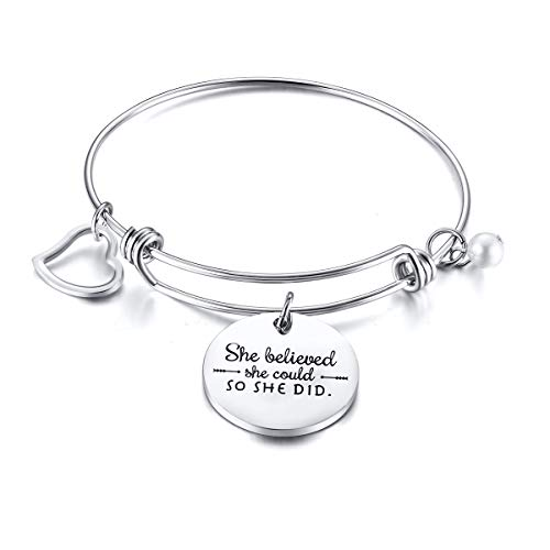 Oidea Damesarmband met hartvormige hanger, armband met gegraveerde tekst She Believed She Could So She Did, zilver roségoud cadeau
