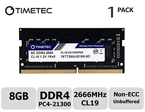 Timetec Hynix IC DDR4 2666MHz PC4-21300 Unbuffered Non-ECC 1.2V CL19 2Rx8 Dual Rank 260 Pin SODIMM Laptop Notebook Computer Memory RAM Module Upgrade (8GB)