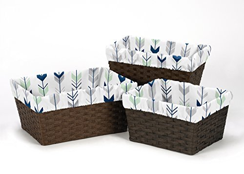 Sweet Jojo Designs 3-Piece Fits Most Basket Liners for Grey, Navy and Mint Woodland Arrow Bedding Sets
