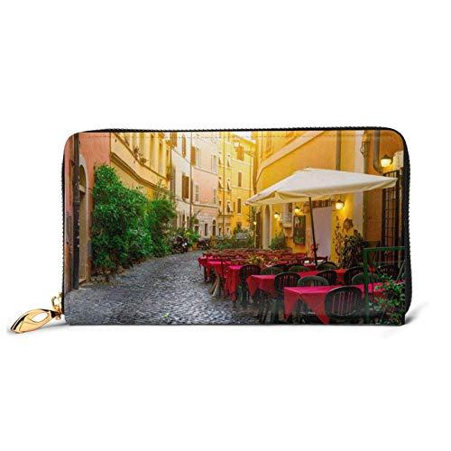 Cartera italiana de cuero impreso de la calle vieja de las mujeres con cremallera bolso de embrague bolsa de viaje tarjeta de crédito titular monedero
