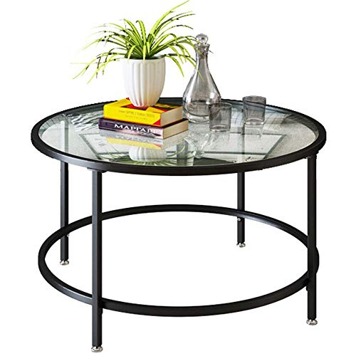 2Tier Black Round Coffee Table, 26' 5mm Thick Tempered Glass Countertop Round Wrought Iron Coffee Table for Living Room