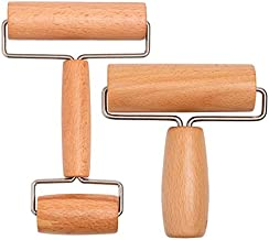 Whaline Wood Pastry Pizza Roller Non Stick Wooden Rolling Pin for Home, Kitchen Baking Cooking Easy to Handle (T-Maple and H-Maple)