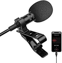 Microphone Professional for iPhone Lavalier Lapel Omnidirectional Condenser Mic Phone Audio Video Recording Easy Clip-on Lavalier Mic for YouTube, Interview, Conference for iPhone/iPad/iPod (6.6ft)