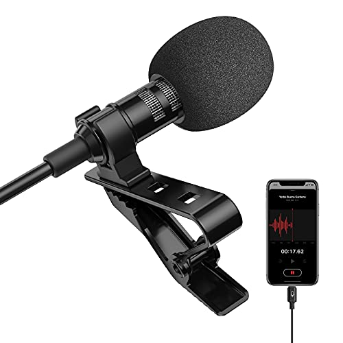 Microphone Professional for iPhone Lavalier Lapel Omnidirectional Condenser Mic Phone Audio Video Recording Easy Clip-on Lavalier Mic for YouTube, Interview, Tiktok for iPhone/iPad/iPod (6.6ft)