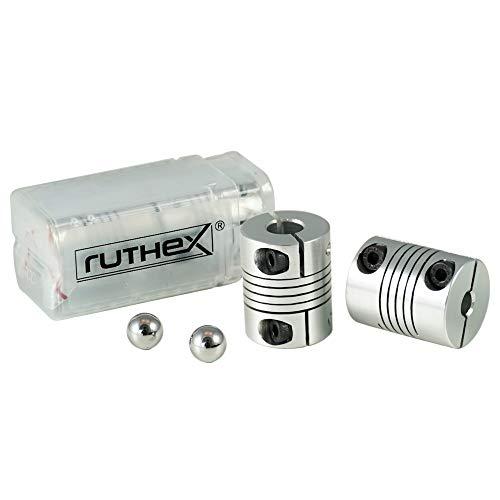 ruthex impresora 3D acoplamiento 5x8mm V2 [2 piezas] con 2 bolas de alineación | acoplamiento de eje flexible NEMA | para impresora 3D Anycubic i3 Mega | Ender 3