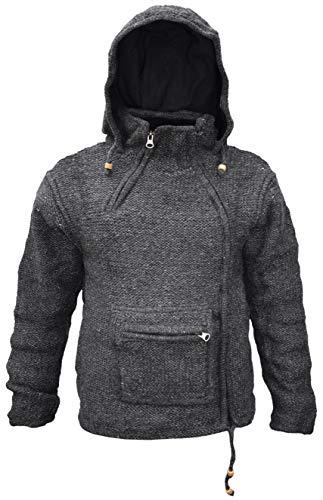 Sudadera con capucha y bolsillo canguro con cremallera, estilo hippy, de lana natural, para invierno, hecha a mano negro gris oscuro Medium