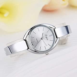JIANGNIAU Watches P072 Women Quartz Steel Belt Silicone Belt Watch(Rose Gold Black) (Color : Silver White)