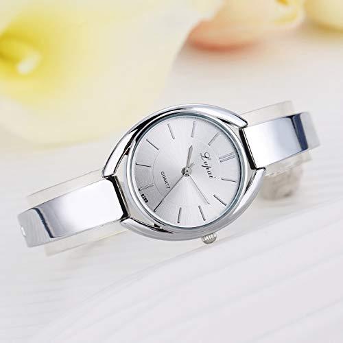 Cellphoneparts BZN Smart Watch Case P072 Reloj de cinturón de Silicona de cinturón de Acero de Las Mujeres P072 (Oro de Oro Rosa) (Color : Silver White)
