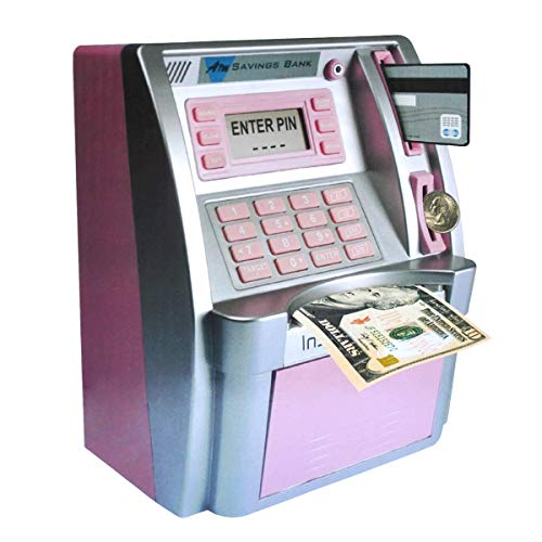 ATM Savings Bank,Pink Mini ATM Piggy Bank for Real Money,Personal ATM Cash Coin Money Savings Machine for Kids Adults with Card Boys Girls Gift Children Toy, Coin Reader and Balance Calculator