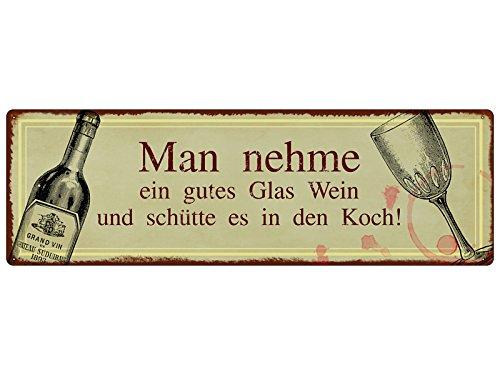 Interluxe METALLSCHILD Shabby Vintage Blechschild Man NEHME EIN Glas Wein Koch Küche Mann Frau Geschenk Dekoration