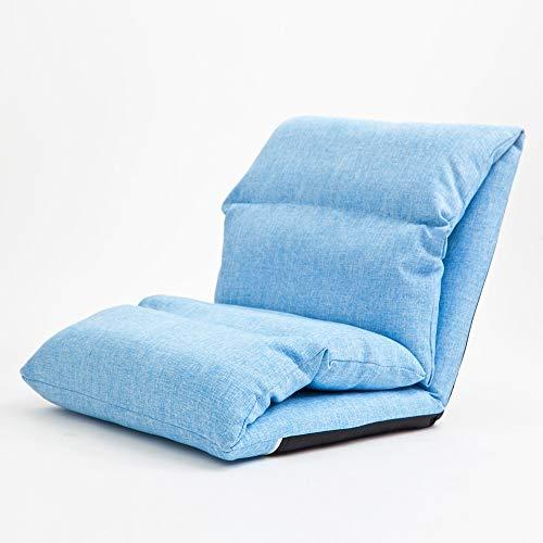 YHLZ Lazy Sofa, Stuhl Bodenboden Stuhl faltbares Gaming Stuhl mit Rückenstütze, Einzel Einstellbare faul Sofa Bett for Erwachsene, for Schlaf/Wohnzimmer/Schlafzimmer (Color : Blue)