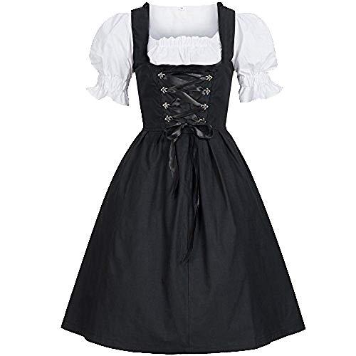 Rosennie Dirndl Damen Trachten-Kleid Midi für Oktoberfest, mit Stickerei und Bluse Dirndlkleid Mittelalter Kleid Festliches Fasching Damen Kleid Kostüm Kleid Cosplay Kostüm Partykleid