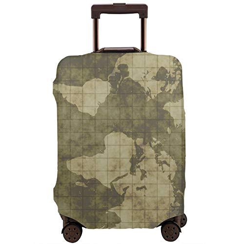 Teery-YY Funda protectora para equipaje de viaje con diseño de mapamundi del mundo vintage con diseño de geografía náutica, para equipaje de 45 a 32 pulgadas,, elástica, para hombres y mujeres