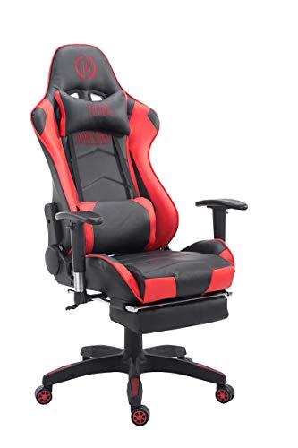 CLP Silla Gaming Turbo En 3 Tapizados Disponibles I Silla Gamer Giratoria & Regulable En Altura, Color:Negro/Rojo, Material:Cuero Sintetico