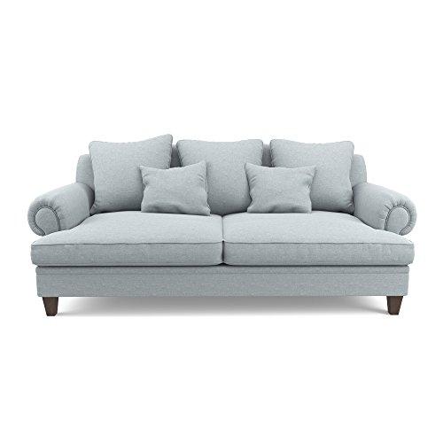 Jellywood® MCRAL B-Famous 3-Sitzer Stoffsofa mit Rückkissen und Zierkissen in Hellgrau, Sitzfläche(BxTxH): 162x70x45 cm
