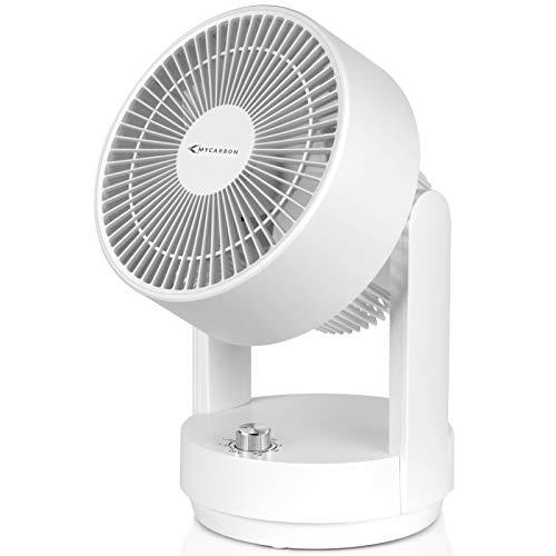 MYCARBON Ventilateur Silencieux Turbo 3D Oscillation Ventilateur de Table à Circulation d'air 3 Vitesses Bouton Rotatif 360° Contrôle Mécanique Design Simple Petit Ventilateur pour Chambre, Bureau