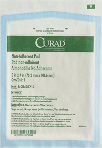 Curad Gasa estéril no adherente (50 unidades) para vendado suave y absorción heridas sin pegarse