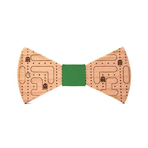 Pajarita de madera Comecocos. Colección de moda hombre: Línea boda y eventos. Modelo inspirado en el clásico videojuego Pacman. Regalo divertido y original. Nudo a elegir