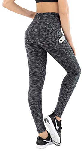 ESPIDOO Women's High Waisted Yoga Pants, Tummy Control Workout Pants for Women, 4 Way Strench Leggings with Pockets, S